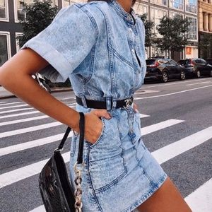 TOPSHOP Acid Denim Jeans Mini Dress 2